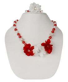Daizy Studded Flower & Pearl Design Necklace & Bracelet Set - Red & White