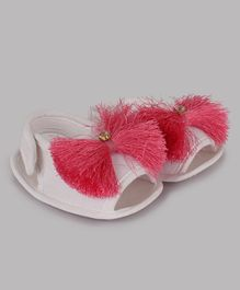 Daizy Velcro Closure Booties With Tassel Work - Pink