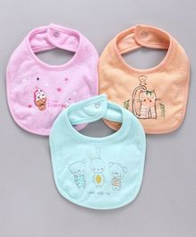 Zero Snap Button Closure Bibs Multi Print Pack of 3 - Orange Blue Pink