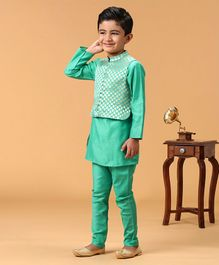 Twisha Full Sleeves Solid Kurta & Pyjama Set With Brocade Jacket - Green