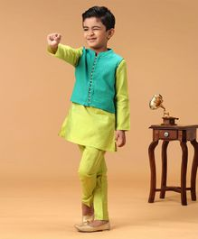 Twisha Full Sleeves Kurta & Pyjama Set With Sleeveless Butta Work Jacket - Green