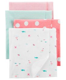 Carter's 100% Cotton Blanket Pack of 4 - Peach