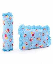 Baby Bolster & Pillow Set Bear With Balloon Print - Blue