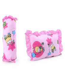 Baby Bolster & Pillow Set Boy with Balloon Star Print - Pink
