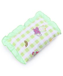 Baby Pillow Kitty Print - Green