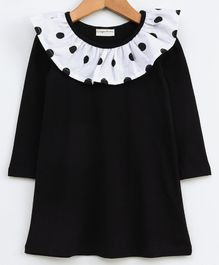 CrayonFlakes Polka Dot Print Ruffled Neckline Full Sleeves Dress - Black