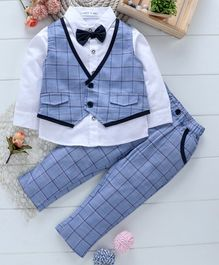 Mark & Mia 3 Piece Full Sleeves Checked Party Suit - Blue