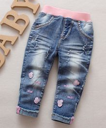 Pre Order - Awabox Cartoon Decorated Full Length Jeans - Light Blue