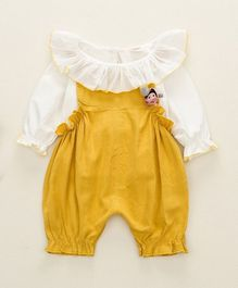 Pre Order - Awabox Solid Full Sleeves Top With Dungaree - Yellow