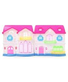 Doll House With Furniture & Mini Figurines - Pink White