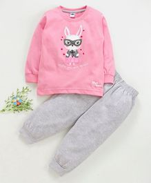 Teddy Full Sleeves Tee And Lounge Pant Bunny Print - Pink Grey