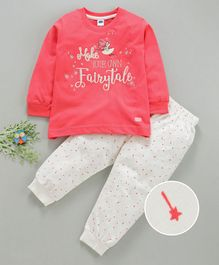 Teddy Full Sleeves Tee And Lounge Pant Fairytale Embroidery - Peach White