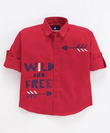 Cubsman Full Sleeves Wild And Free Print Shirt - Red