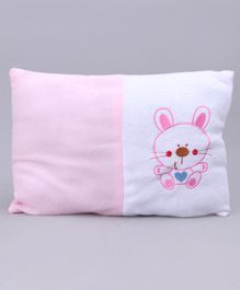 Baby Pillow Kitty Embroidery - Pink White