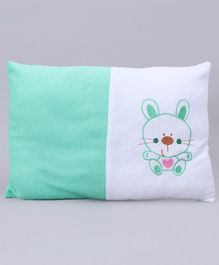 Baby Pillow Kitty Embroidery - Green White