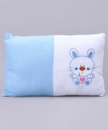 Baby Pillow Kitty Embroidery - Blue White