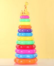 Stacking Toy With Giraffe At Top Set of 12 - Multicolor