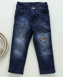 Eteenz Full Length Jeans Superman Logo Embroidery - Dark Blue