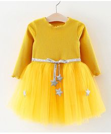 a2e7378087 Pre Order - Awabox Full Sleeves Ribbed Style Tulle Flare Star Decorated  Dress - Yellow