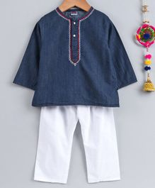 Babyhug Full Sleeves Kurta & Pajama Set - Blue