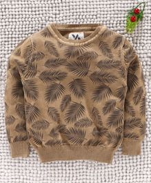 Yellow Apple Full Sleeves Sweater Leaves Design - Brown