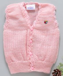 Little Angels Sleeveless Sweater Floral Knitted - Pink