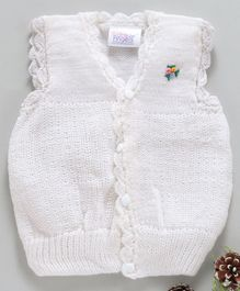 Little Angels Sleeveless Sweater Floral Knitted - White