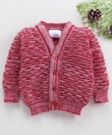 Little Angels Full Sleeves Sweater Half Diamond Design - Red
