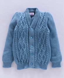 Little Angels Full Sleeves Front Open  Sweater - Blue