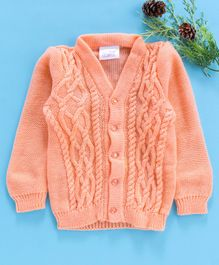 Little Angels Full Sleeves Front Open  Sweater - Peach