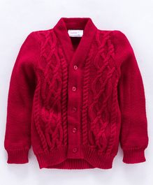 Little Angels Full Sleeves Front Open  Sweater - Red