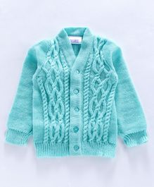 Little Angels Full Sleeves Front Open  Sweater - Aqua