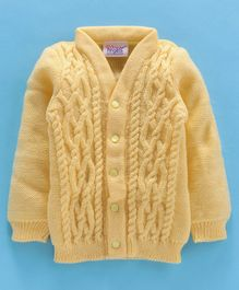 Little Angels Full Sleeves Front Open  Sweater - Yello