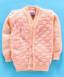 Little Angels Full Sleeves Sweater Square Design - Peach Pink