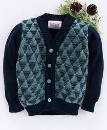 Little Angels Full Sleeves Sweater Half Geometric Design - Navy Blue