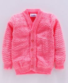 Little Angels Full Sleeves Front Open  Sweater - Pink