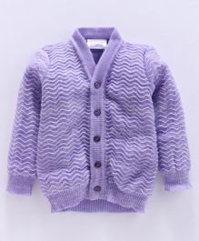 Little Angels Full Sleeves Front Open  Sweater - Purple