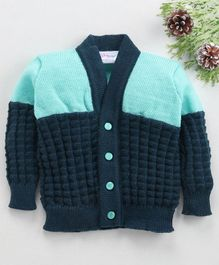 Little Angels Full Sleeves Front Open Sweater - Navy Aqua