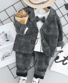 Pre Order - Awabox Teddy Printed T-Shirt With Full Sleeves Checkered Blazer & Pants - Grey