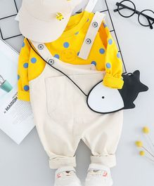 Pre Order - Awabox Polka Dot Printed Full Sleeves T-Shirt With Front Pocket Dungaree  - Yellow & White