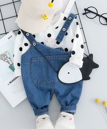 Pre Order - Awabox Polka Dot Printed Full Sleeves T-Shirt With Front Pocket Dungaree  - White & Blue
