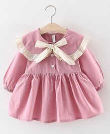 Pre Order - Awabox Bow Design Puffed Full Sleeves Dress - Pink