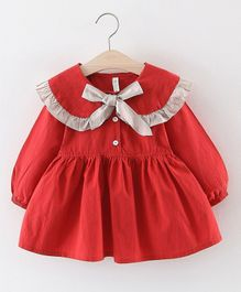 Pre Order - Awabox Bow Design Puffed Full Sleeves Dress - Red