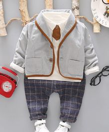 Pre Order - Awabox Full Sleeves Jacket With Tee & Striped Pants Set With Attached Tie - Grey