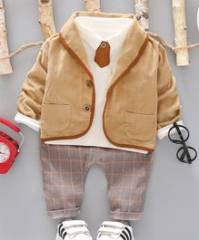 Pre Order - Awabox Full Sleeves Jacket With Tee & Striped Pants Set With Attached Tie - Brown