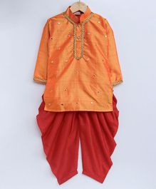 KID1 Mirror Work Full Sleeves Kurta With Dhoti - Orange & Red