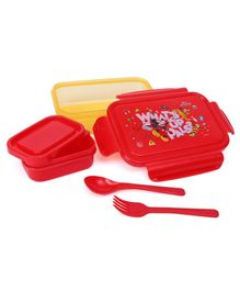 Disney Mickey And Mouse Friends Lunch Box With Container & Spoons - Yellow & Red