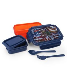 Marvel Avengers Lunch Box With Container & Spoon - Orange & Blue