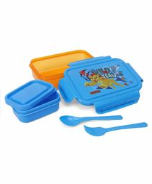 Lion King Lunch Box With Container & Spoons - Yellow & Blue