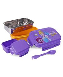 Disney Cinderella Lunch Box With Container & Spoon - Purple & Yellow